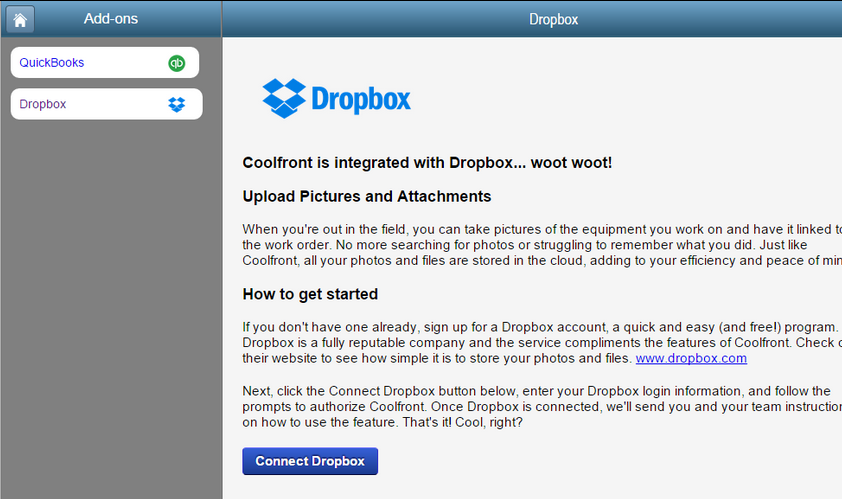 Use Dropbox With Coolfront Work Orders