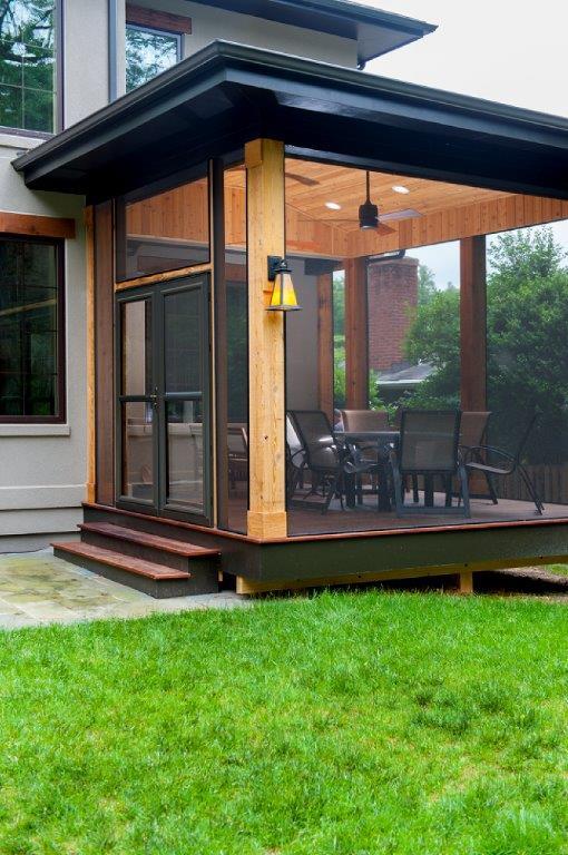 contemporary cedar screened porch in maryland. Black Bedroom Furniture Sets. Home Design Ideas