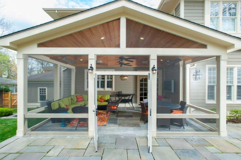Craftsman Style Screened Porch with Custom Flagstone Sitting Wall