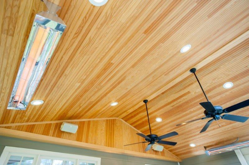 ... Tongue And Groove Pine Ceiling With Infratech Heaters And Ceiling Fan