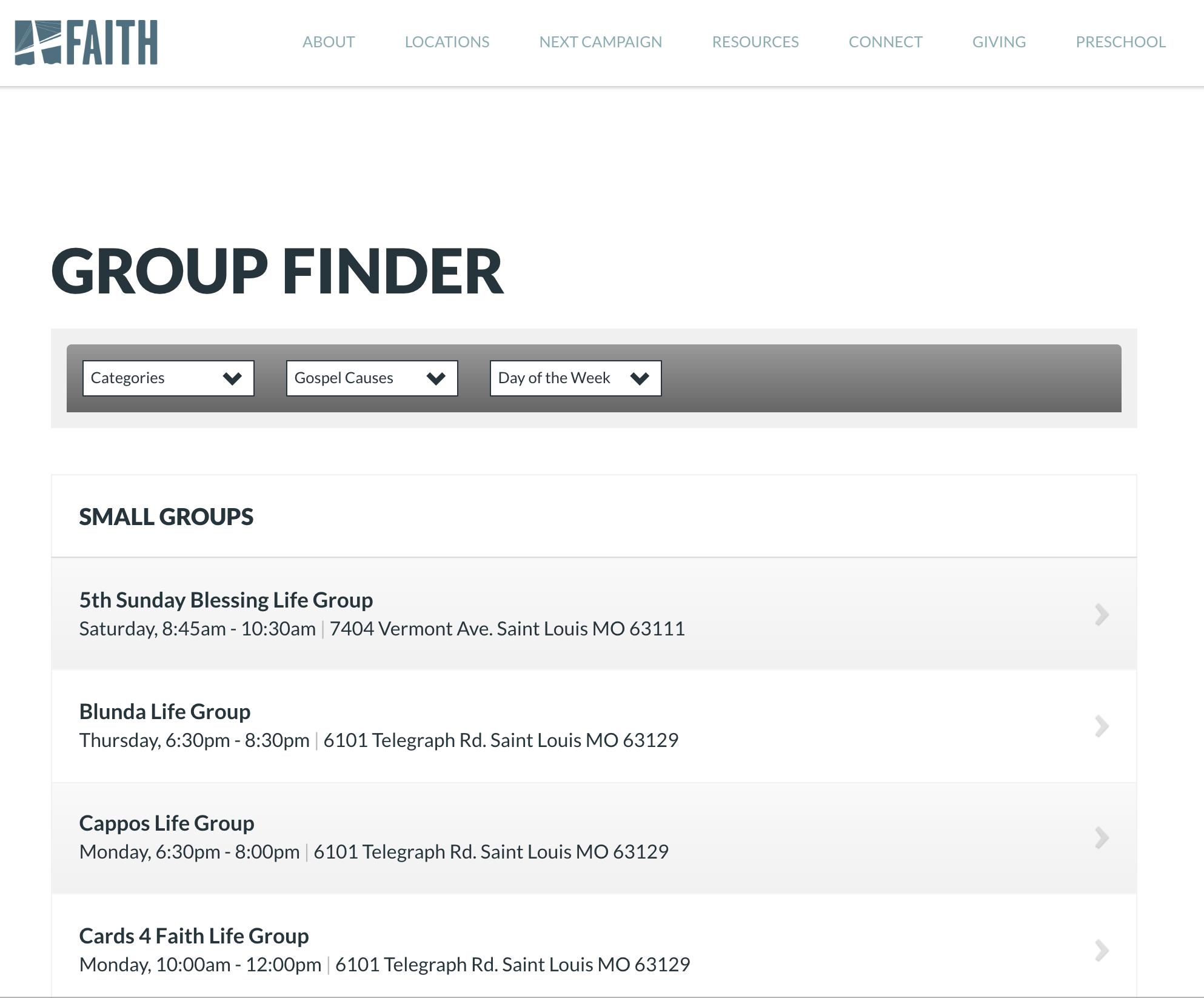 Faith Lutheran Church Group Finder