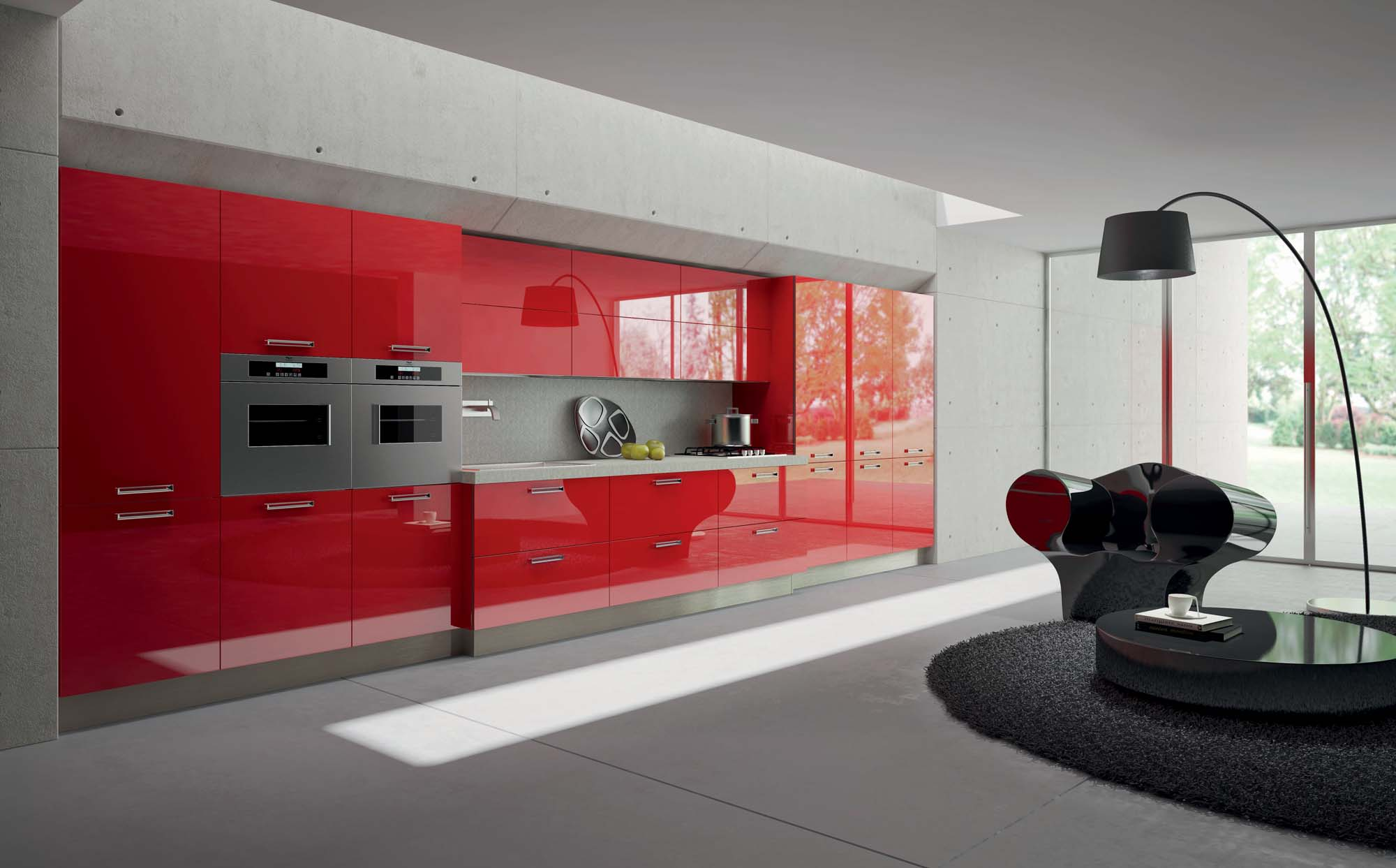 Kitchen design ideas in red color