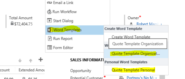 create a quote template with one click in dynamics crm