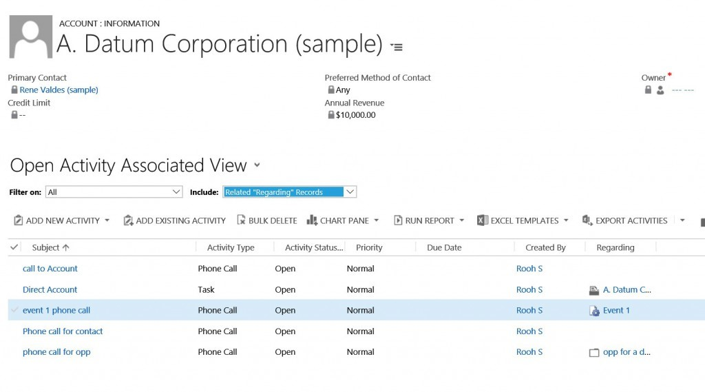 Account/Contact Rollup View for Activities with Dynamics CRM