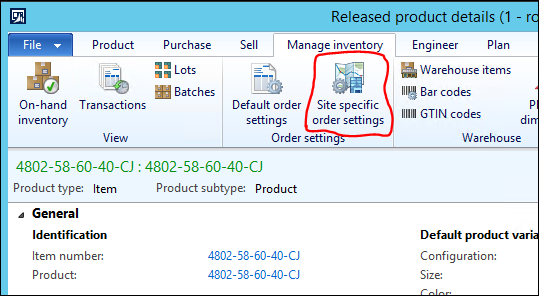 Default and Site-specific Order Settings in Microsoft Dynamics AX 2012