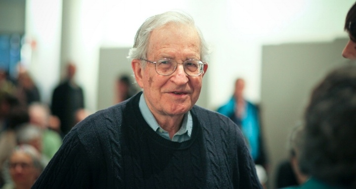 Noam Chomsky walking
