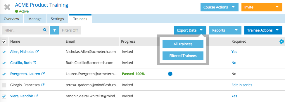 If you want, you can also extract the whole list or the filtered list of trainees to Excel for further analysis.
