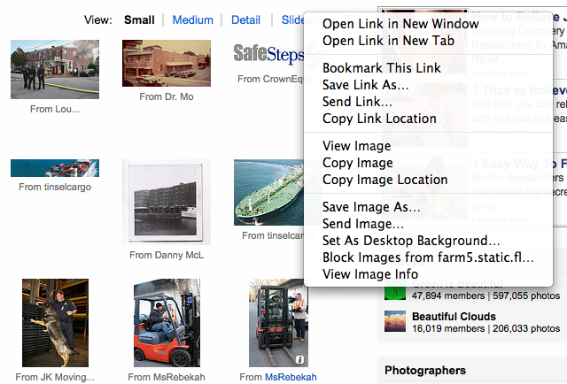 Screen capture of Flickr thumbnail images
