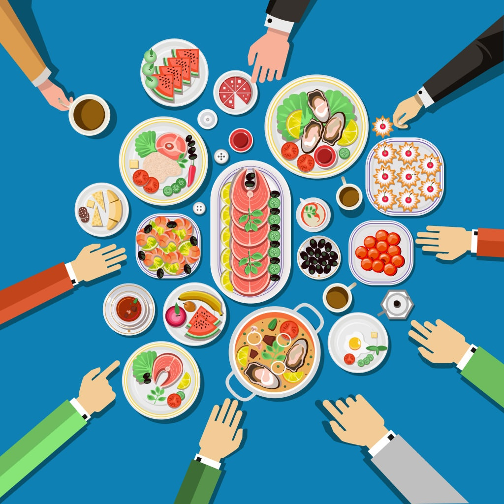 Сatering party with people hands and dishes