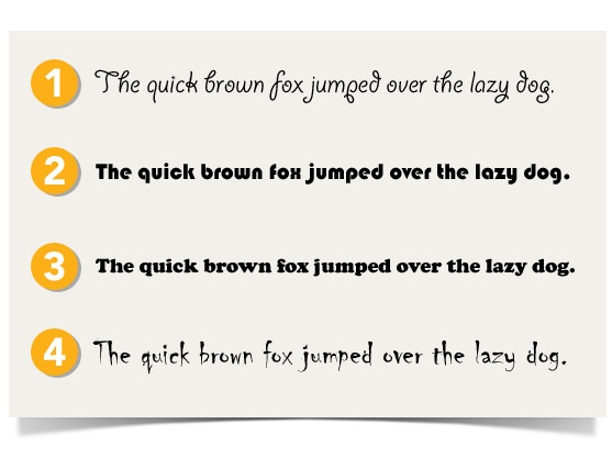 the quick brown fox jumped over the lazy dog sentence in different font types
