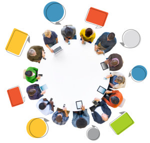 Group of People Using Digital Devices with Speech Bubble