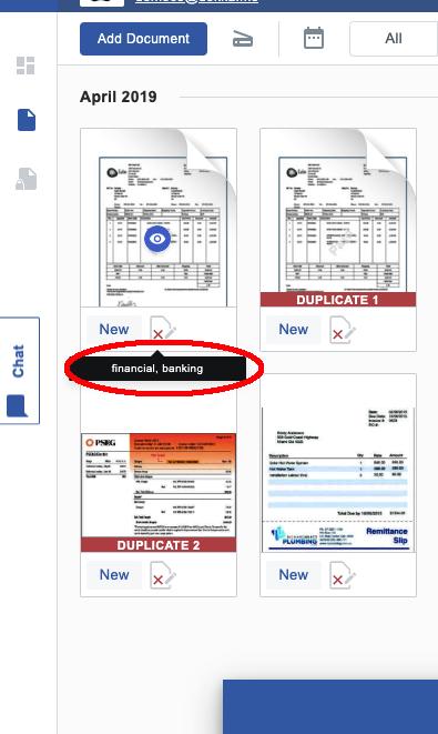 Tags on financial documentation