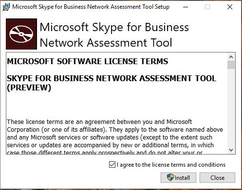 microsoft skype for business network assessment tool setup screenshot