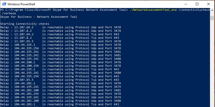 skype for business network assessment tool screen shot diagram