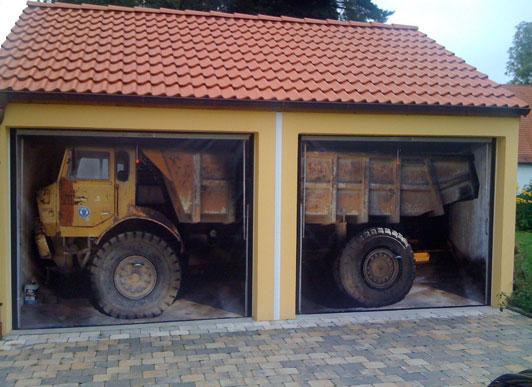 truck in garage