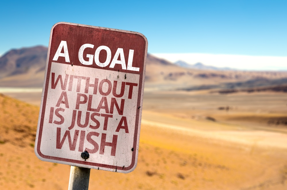 A Goal Without a Plan Is Just A Wish sign with a desert background