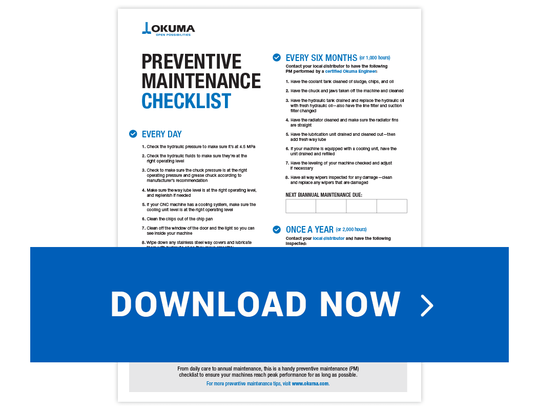 CNC Machine | Checklist for Preventive Maintenance