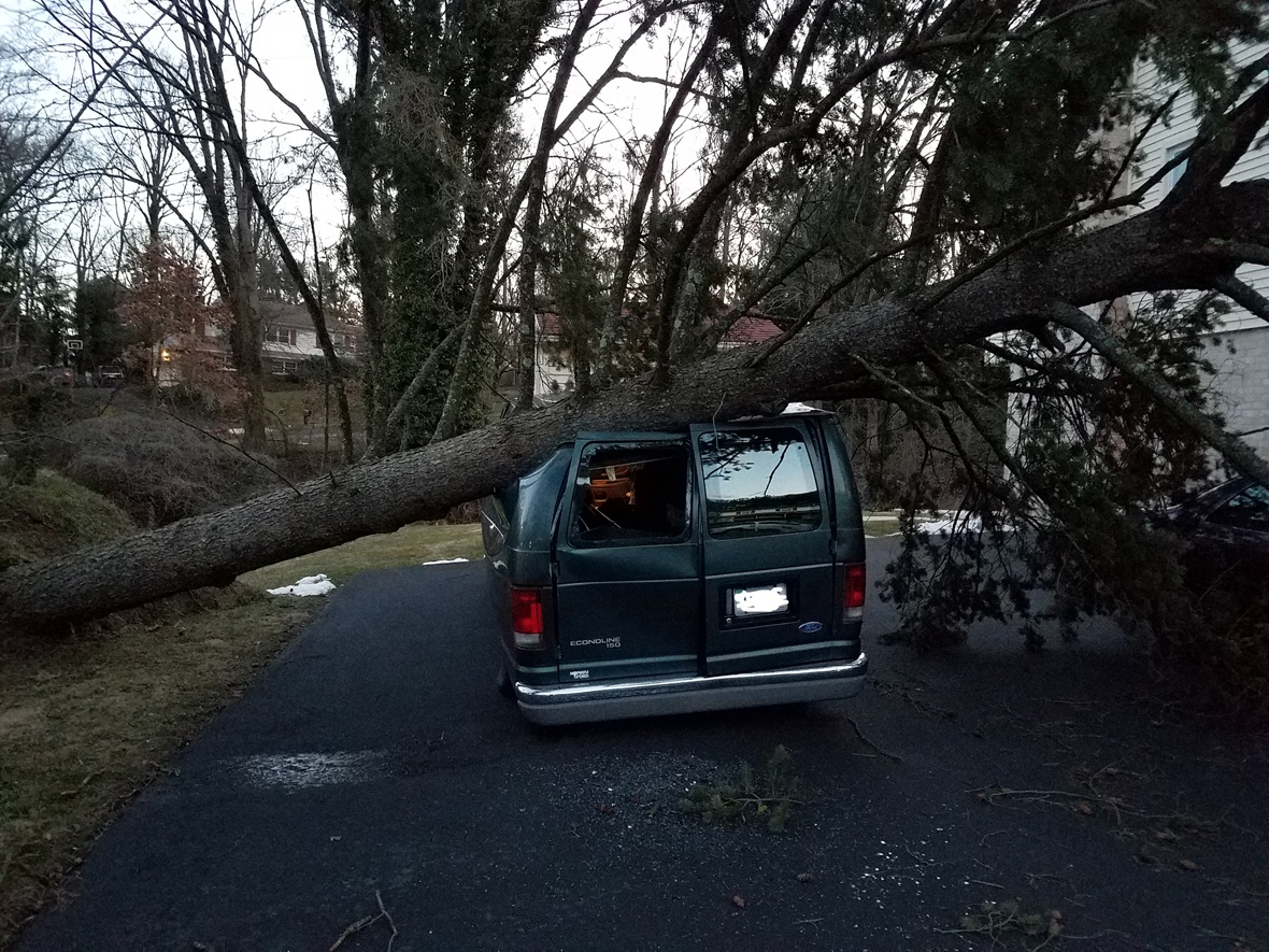 High speed winds topples huge tree onto homeowner's vehicle and home.
