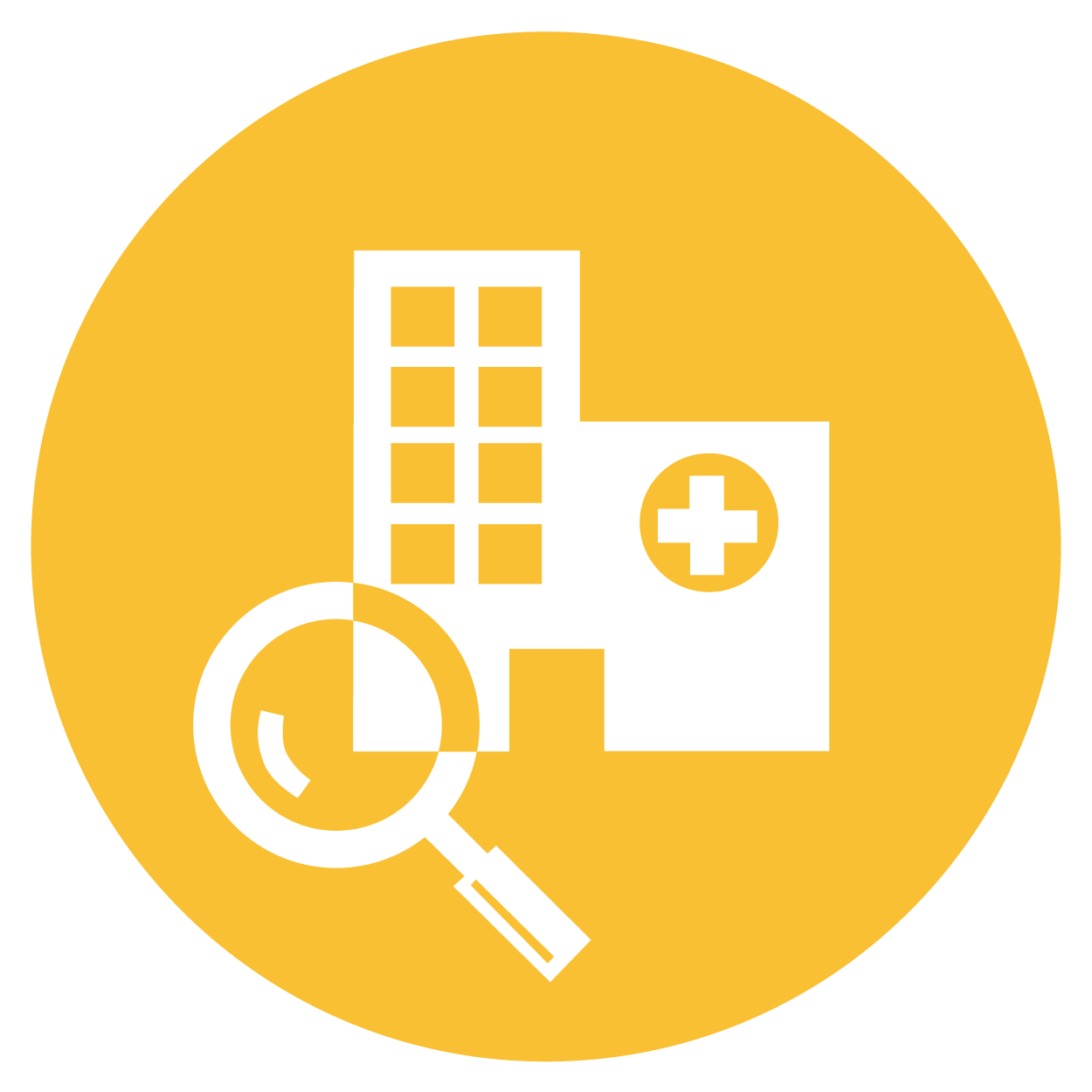 Magnifying Glass and Hospital Icon