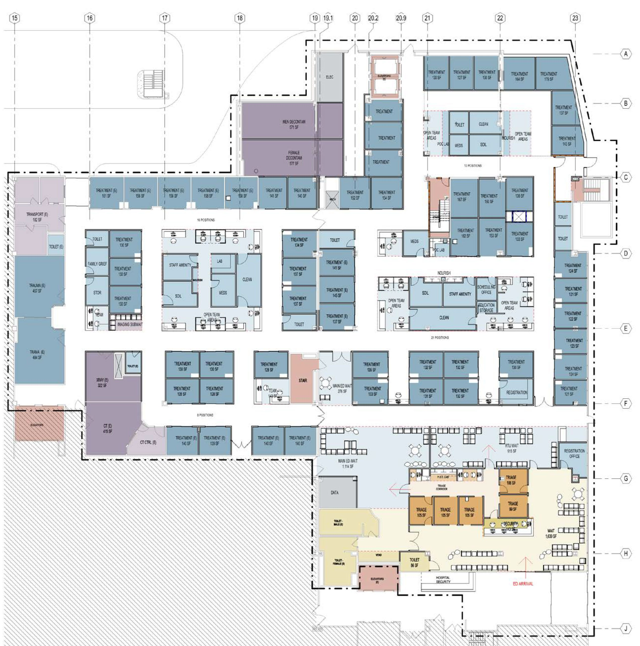 Emergency department master planning array architects for Emergency room design floor plan