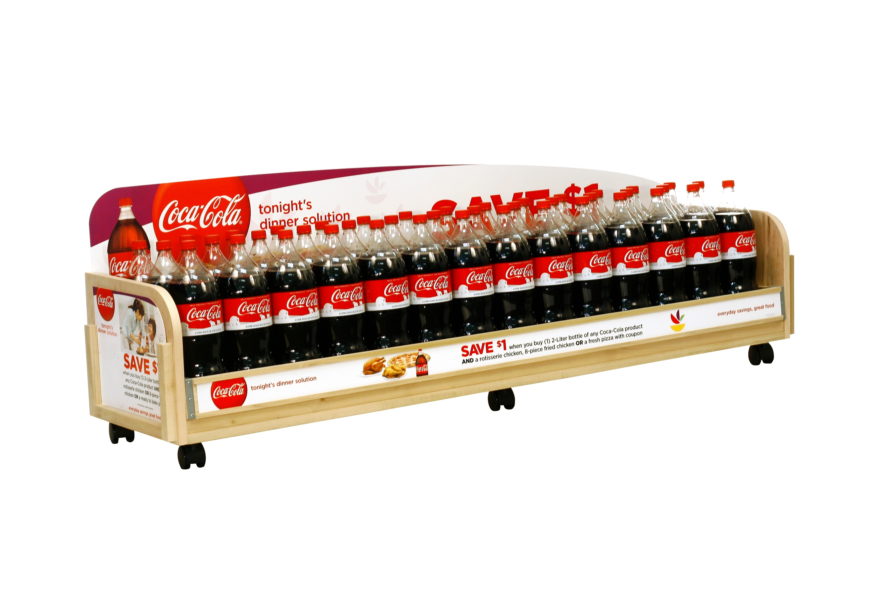 manufacturing custom retail display stands for major brands coca cola grocery under counter retail display