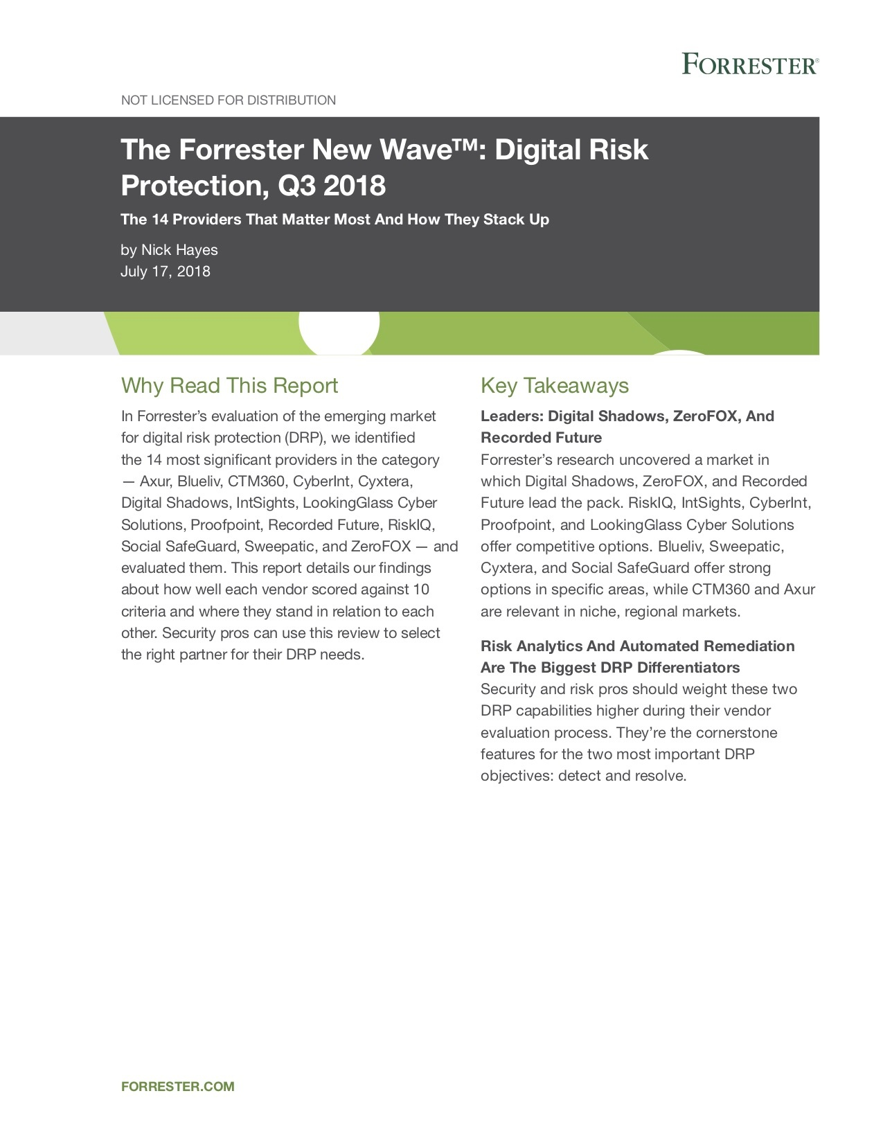 Forrester-DRP Wave - Q3 2018 - Cover