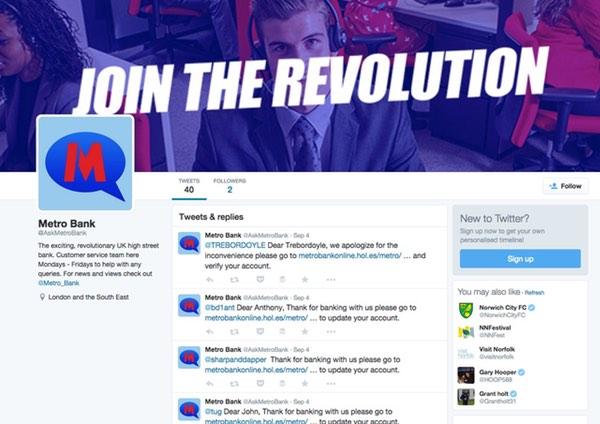 fake metro bank Twitter page