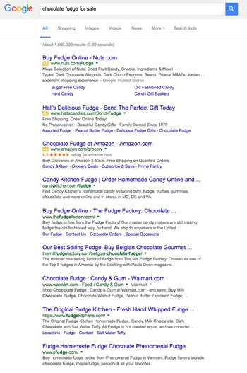 Google Search Engine Result Page for chocolate fudge for sale