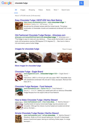 Google Search Engine Result Page for chocolate fudge