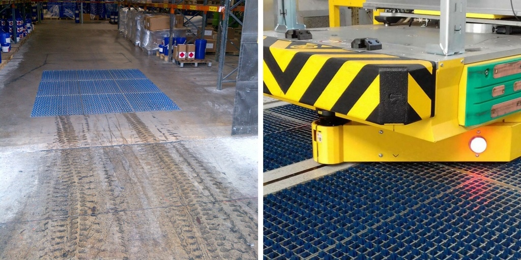 Forklift and AGV tyre cleaning mat system