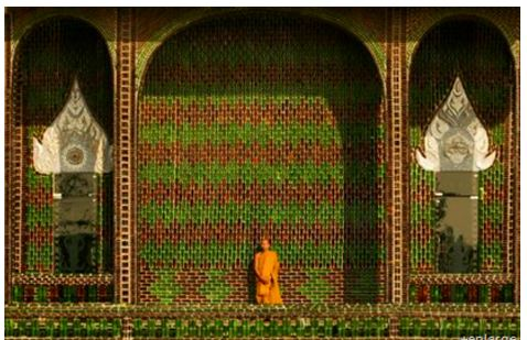 A Buddhist Temple Made of Beer Bottles