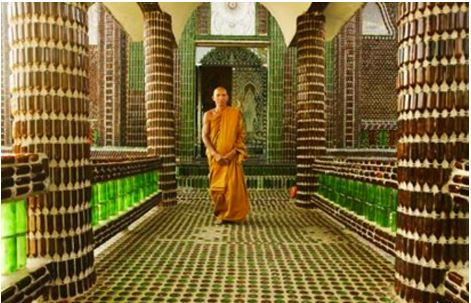 Buddhist Temple Made of Beer Bottles