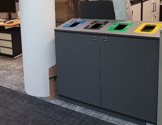 Indoor office recycling station