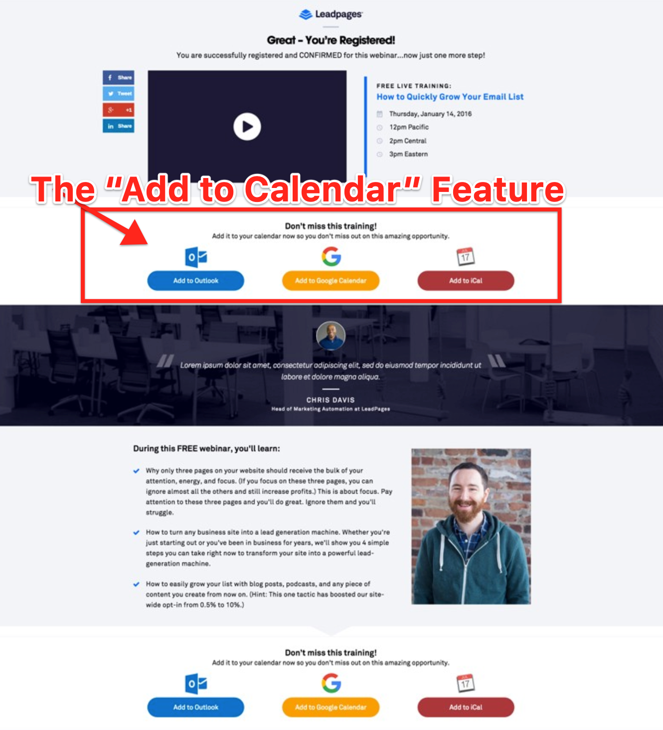 Add to Calendar Feature on Webinar Confirmation Page