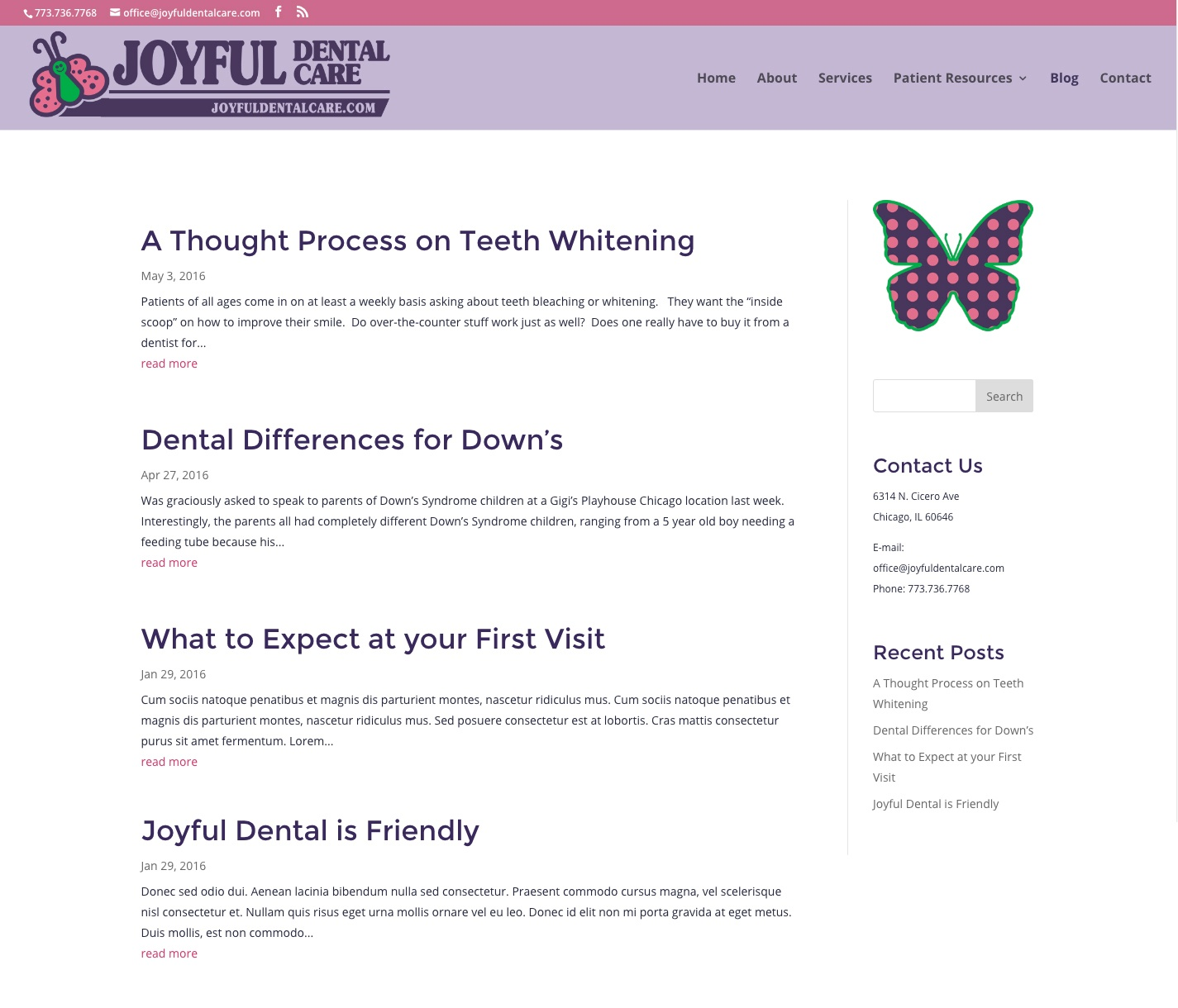 Updated Joyful Dental blog homepage