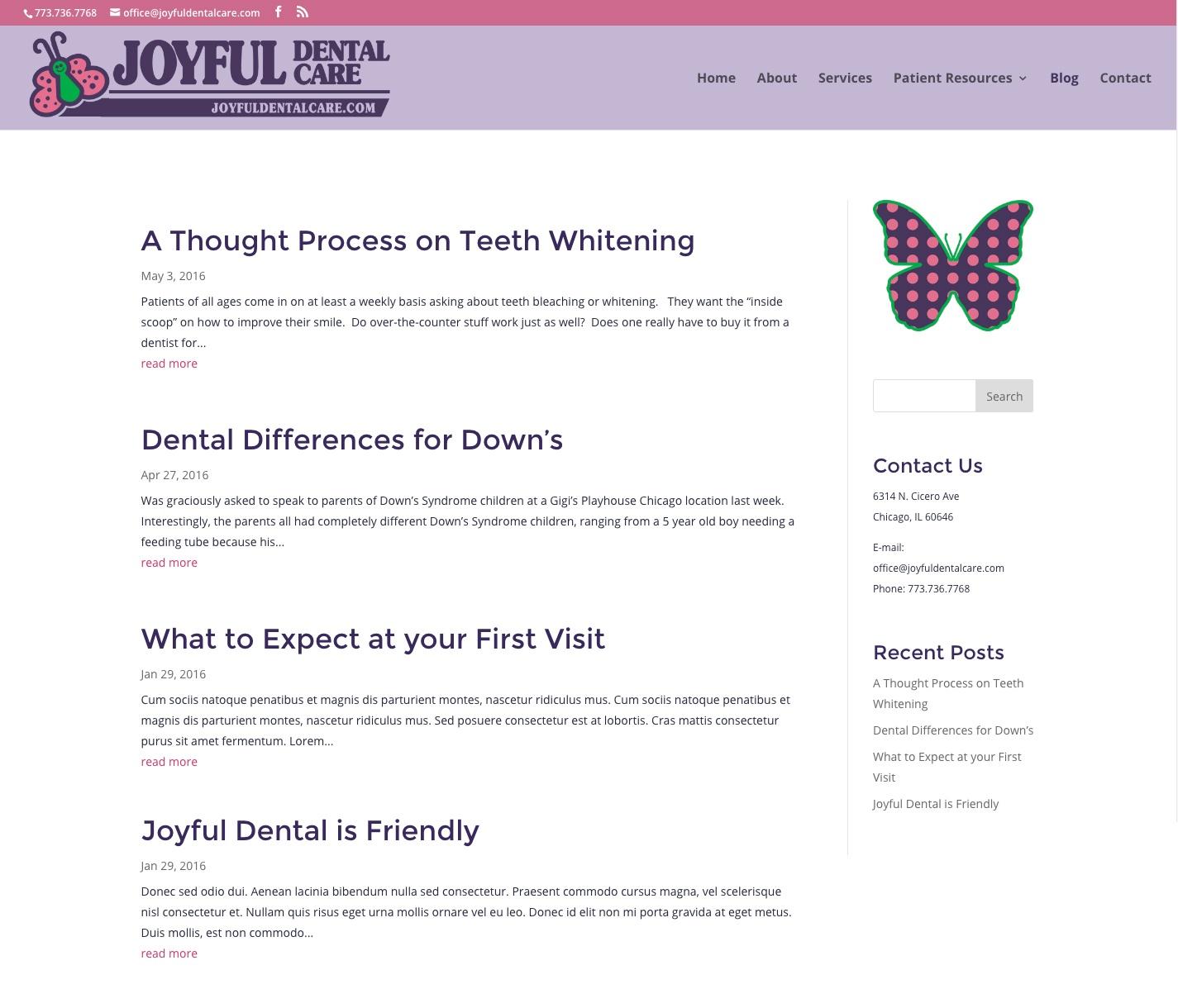 Updated Joyful Dental blog homepage