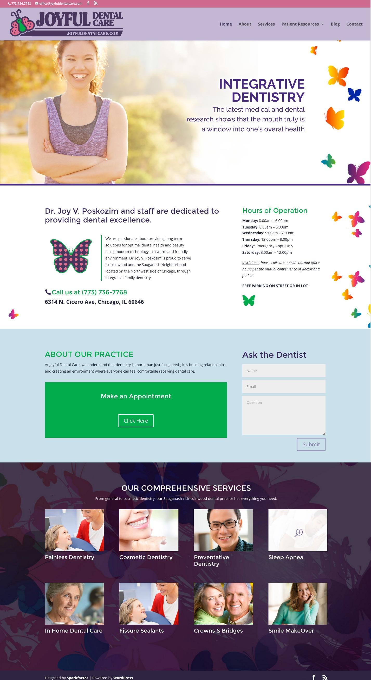 Redesigned Joyful Dental homepage