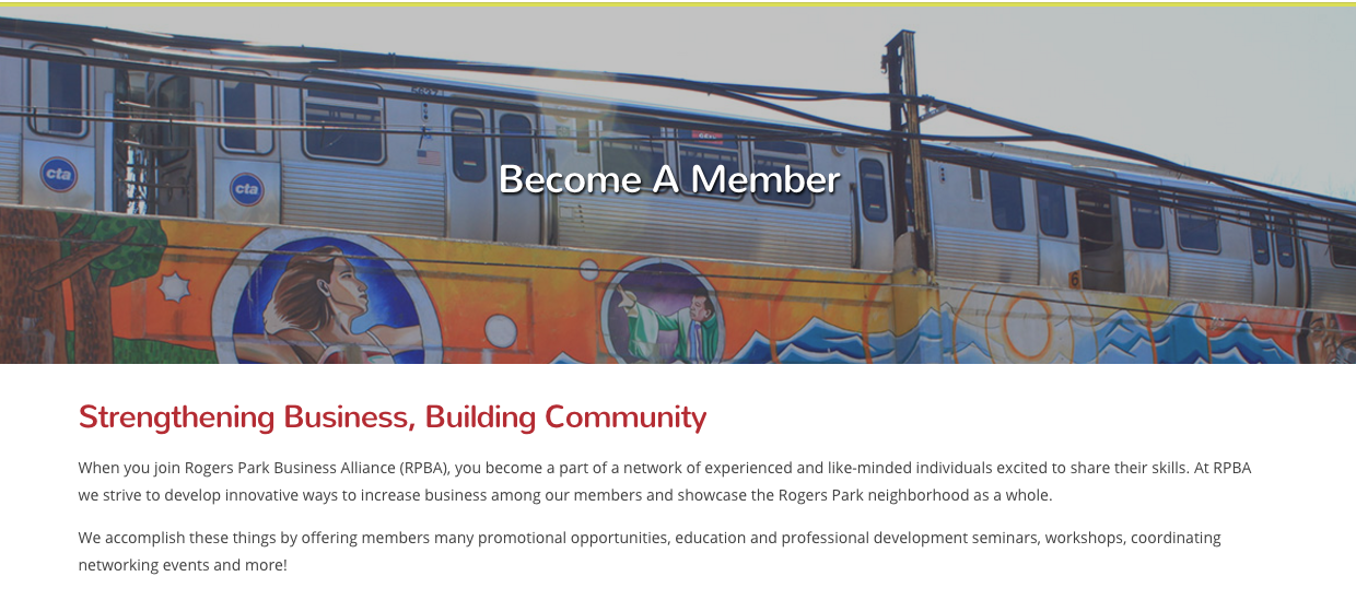 Rogers Park Business Alliance membership page