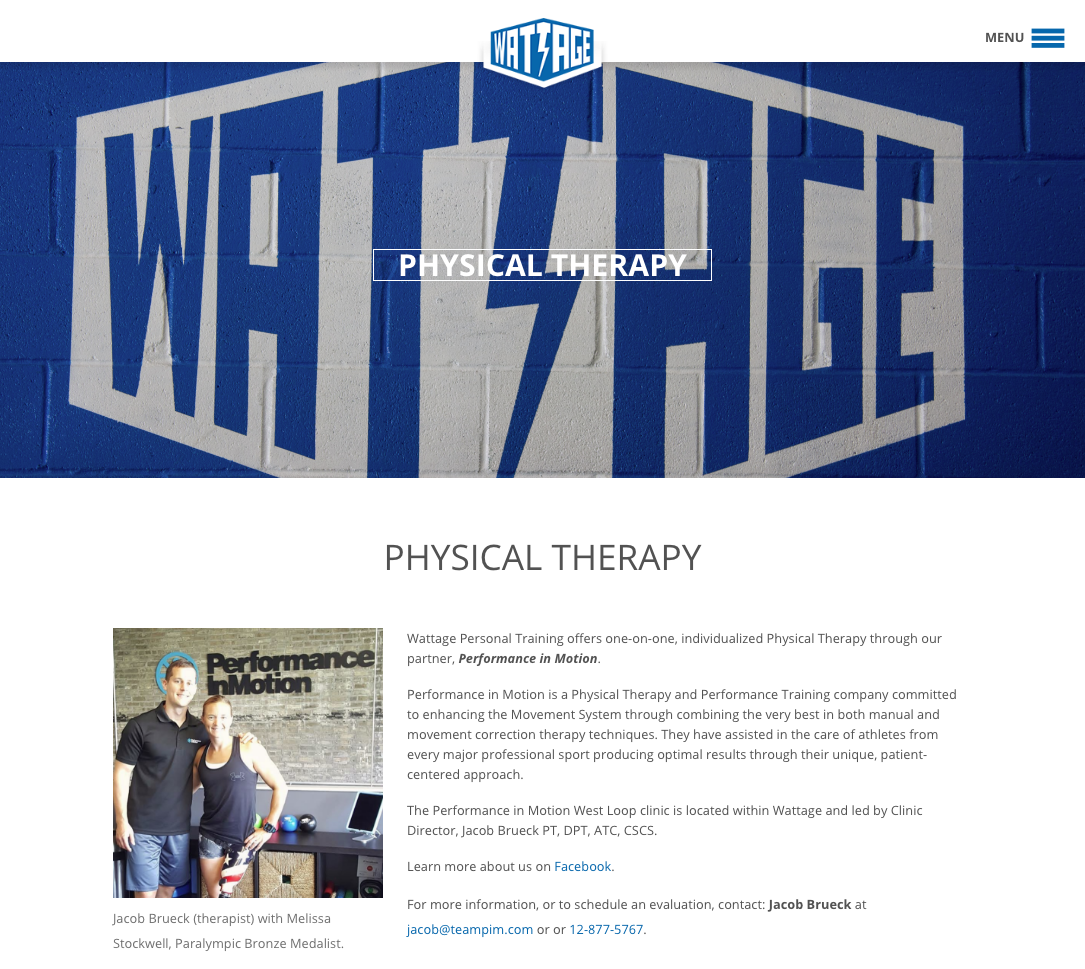 Wattage physical therapy page