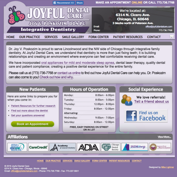 Previous Joyful Dental homepage