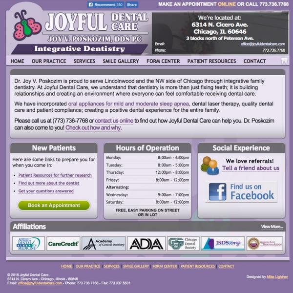 Previous Joyful Dental homepage