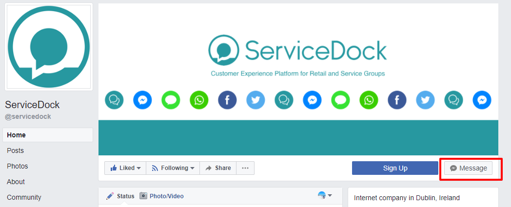 ServiceDock facebook page