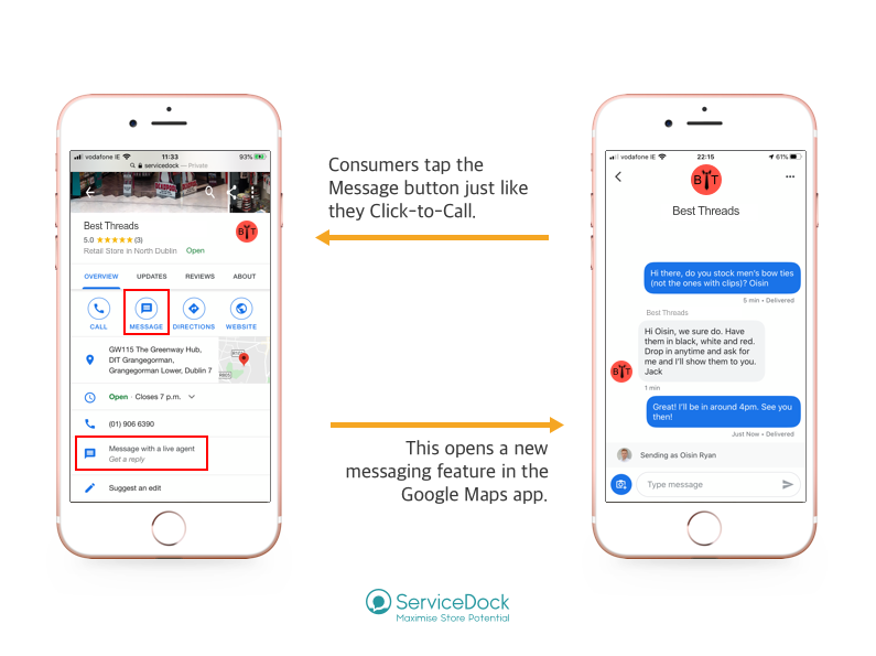Google's Business Messages as used in Retail