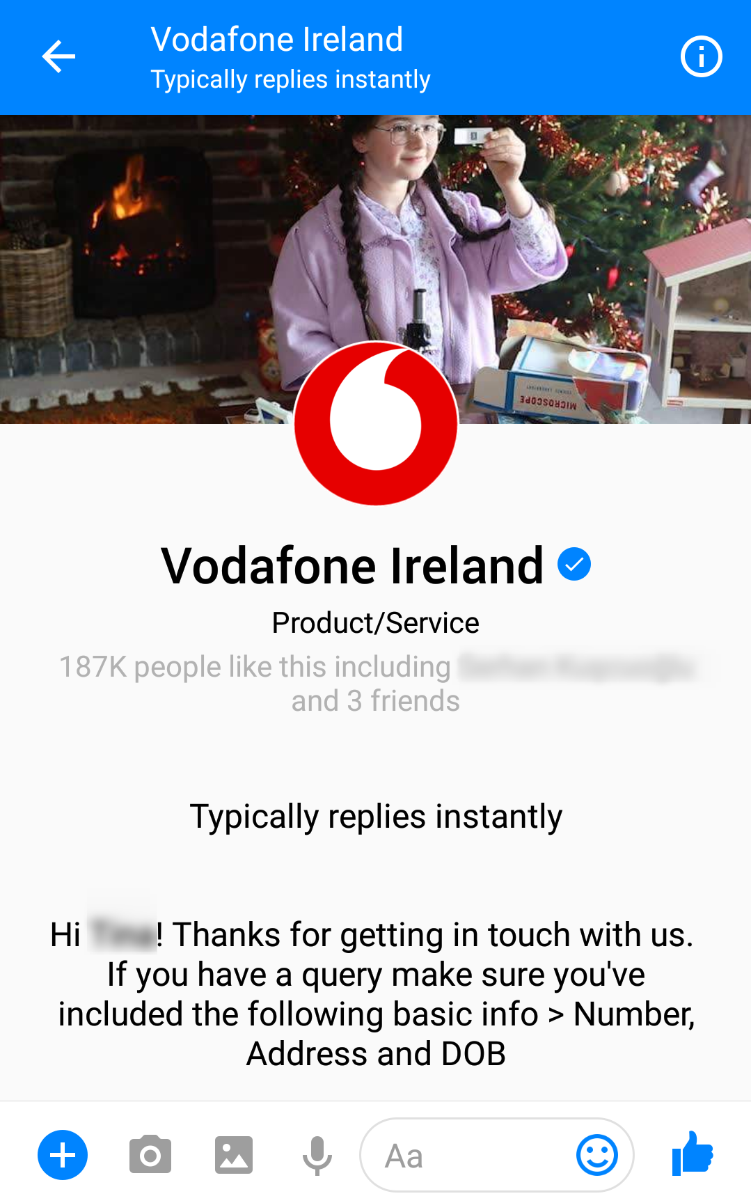 Vodafone Ireland Messenger Greeting