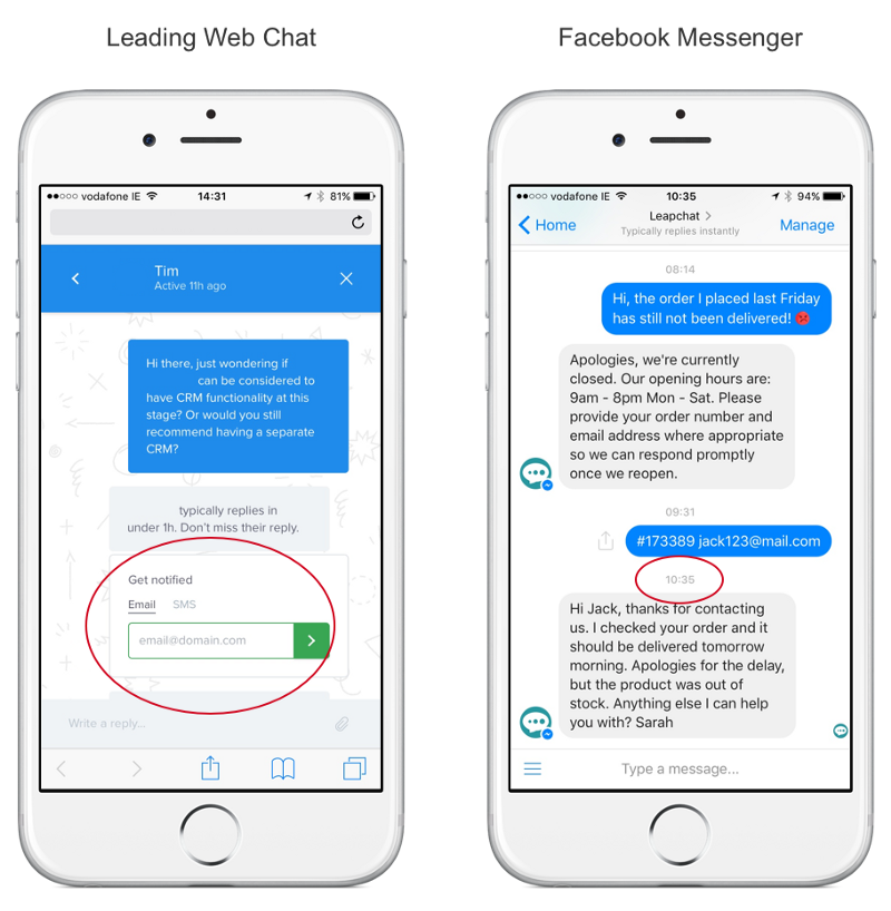 A leading web chat interface set aside the Messenger interface shows how much easier it is to reconnect on Messenger, which is one of the main reasons messaging is the best live chat solution for mobile