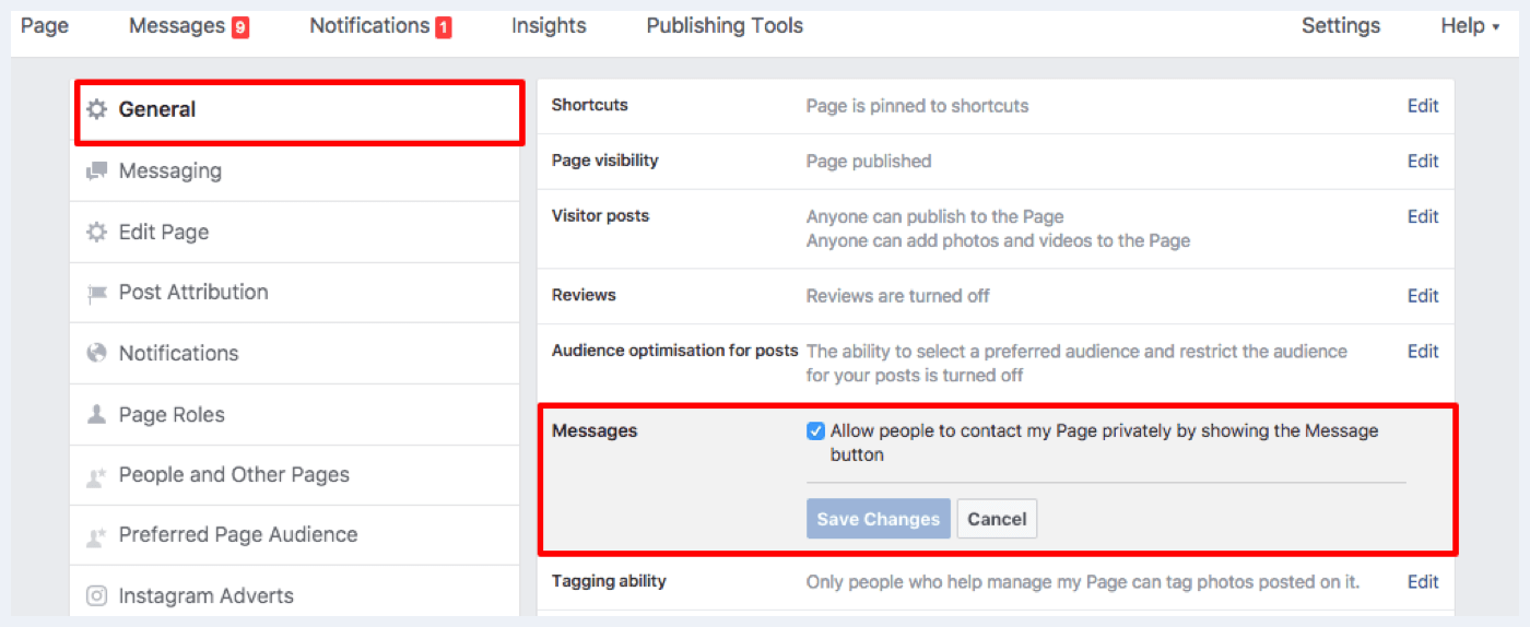 Facebook direct message settings