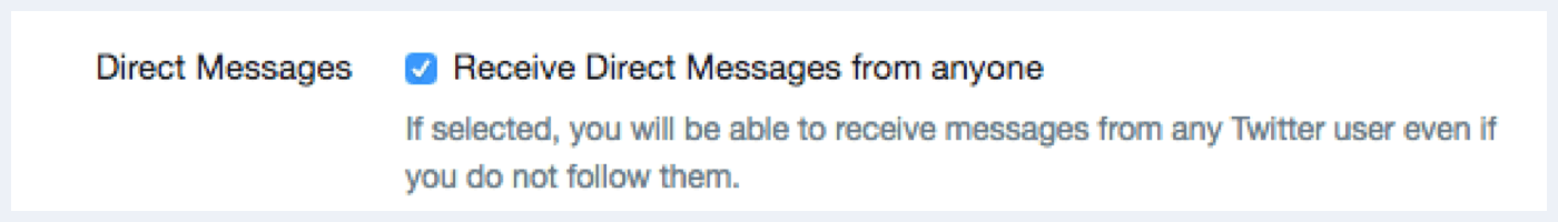 Twitter direct message setting