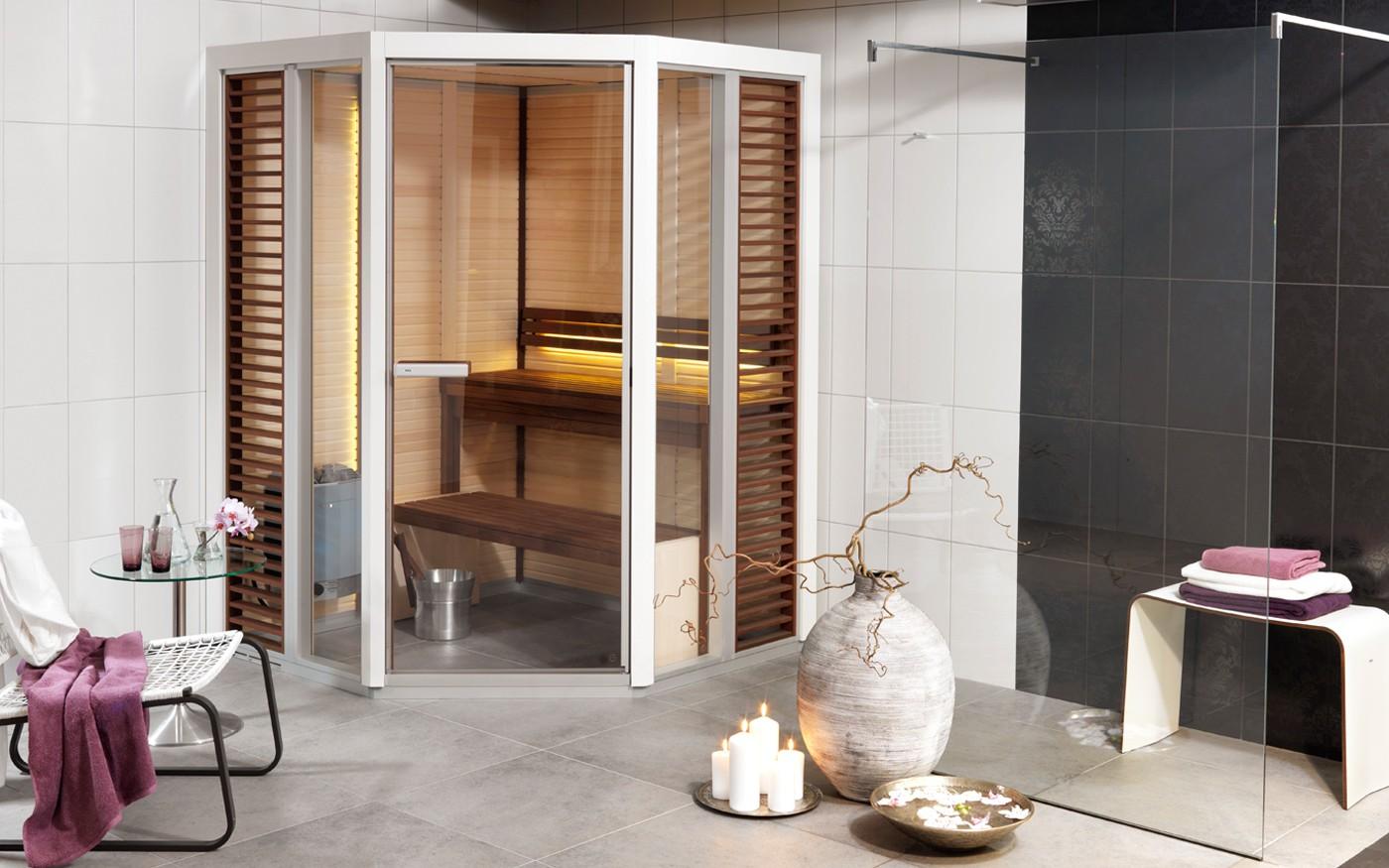 Impression   bastu för små badrum