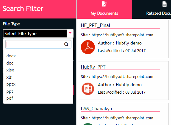 Document Search by file type