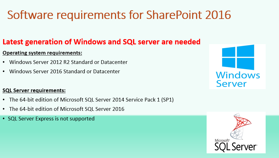 Software Requirements for SharePoint 2016